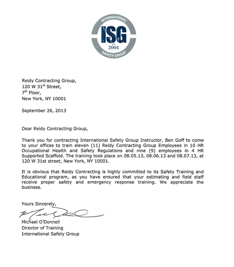 reference letter reidy contracting group